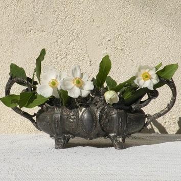 Small French vintage metal planter, shabby chic planter, ornate metal planter, country home, French antique, French vintage, art nouveau