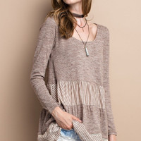 Long Sleeved Heathered Tiered Top