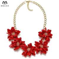 Fashion Jewelry Flowers Necklace Women Accessories Acrylic Exo Gold Plated Chain Statement Pendant Necklace 3 Color NK1300