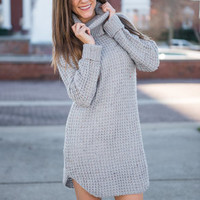 Expressive Love Sweater Dress, Gray