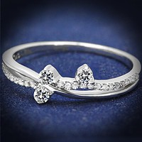 Rhodium 925 Sterling Silver Ring with AAA