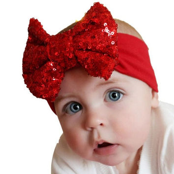 LandFox  Fashion Elastic Children Headband Cute Sequins Bow Baby Girl Hair Accessories GS