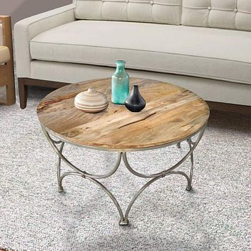 Round Wooden Top Coffee Table with Lattice Metal Base, Brown and Silver By The Urban Port