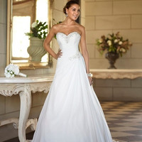 Stock Sweetheart Chiffon Sweep Train New Elegant Backless Bridal Dress Plus Size Wedding Dresses Wedding gown = 1932034884