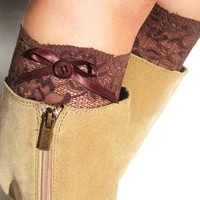 Brown Lace Bow Boot Cuffs