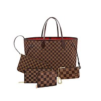 LV Louis Vuitton New Fashion Tartan Shoulder Bag Women Handbag Wallet Key Case