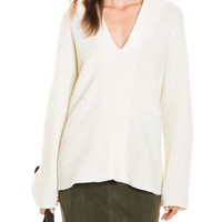 Horizontal V-Neck Knit | David Jones