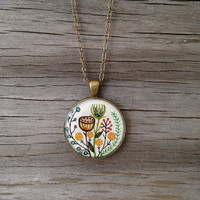 Wildflower Painting - Original Watercolor Hand Painted Necklace, Inspired by Vintage Florals, Mom Mothers Day