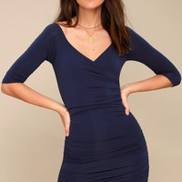 Star of the Show Navy Blue Off-the-Shoulder Bodycon Dress