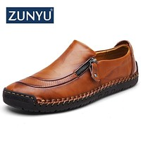 New big size 38-48 men casual shoes loafers spring and autumn mens moccasins shoes genuine leather men's flats shoes