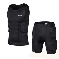 Men's Sports Rash Guard Compression Padded Protective Shirt Soccer Basketball hockey Training Vest
