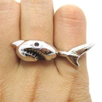 3D Shark Shaped Sea Animal Wrap Around Ring in Silver   DOTOLY