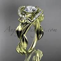 14kt yellow gold diamond unique engagement ring, wedding ring ADLR326