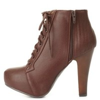 Quilted Lace-Up Platform Booties by Charlotte Russe - Brown