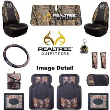 Realtree Outfitters Camo Car Truck SUV Front & Rear Heavy-Duty Floor Mats Universal Seat Covers Steering Wheel Cover Key Chain Seat Belt Pads 3-Pack Air freshener Visor Organizer Windshield Decal - Combo Kit Gift Set - 15PC