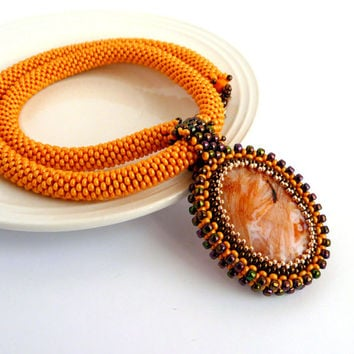 Beaded necklace with crazy lace agate pendant, beadcrochet necklace orange bronze colored two sided