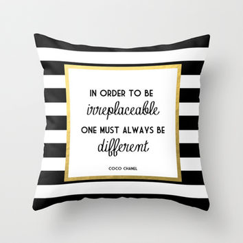 Coco Gold Fashion Quote Throw Pillow by Poppy Loves To Groove | Society6