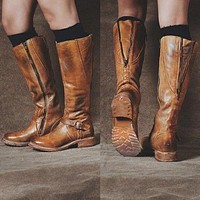 Women's Faux Leather Round Head Side Zipper Metal Decorative Tall Riding Boots