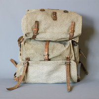 SWISS ARMY BACKPACK from 1937, Rare Military Leather and Canvas Bag, 'Salt & Pepper', Large Men's Rucksack, Fishing, Hiking, Switzerland