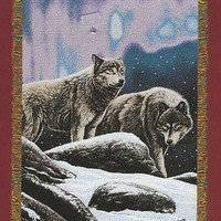 Hautman Brothers Northern Lights Wolves 48x60 Woven Tapestry Throw FREE US SHIP