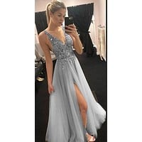 Sexy Grey Prom Dress 2021,Formal Dress, Cocktail & Party Dresses CD0143