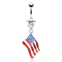 United States USA American Flag Epoxy Dangle with Star Gem Belly Ring