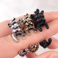 New Arrival Vintage West Highland Yorky Terrier Rings Streched Animal Yorkshire Puppy Dog Rings for Women