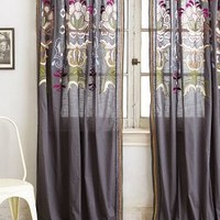Safia Embroidered Curtain by Anthropologie in Dark Grey Size: