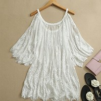Leshery Vintage Hippie Boho Embroidery Lace Crochet Dress Tops (M)
