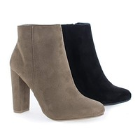 Blossom04 By Wild Diva, Almond Toe High Heel Zip Up Ankle Booties
