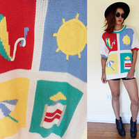 Vintage 80's knit sweater pullover novelty pattern beach long tunic