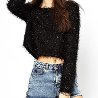 Black Shaggy Crop Sweater