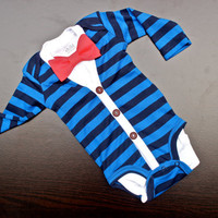 Cardigan and Bow Tie Onesuit Set - Trendy Baby Boy - Blue Stripes with Coral