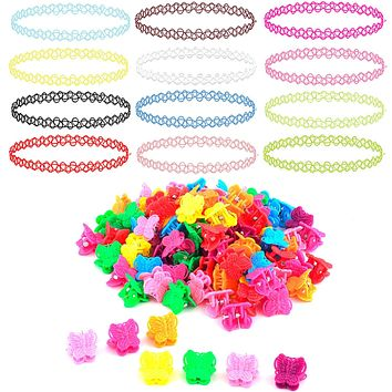 62PC Choker Necklace Butterfly Hair Clips Set Henna Tattoo Stretch Elastic Jewelry Teen Girl