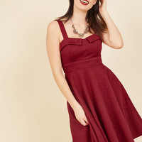 Pull Up a Cherry A-Line Dress in Embossed Ruby   Mod Retro Vintage Dresses   ModCloth.com