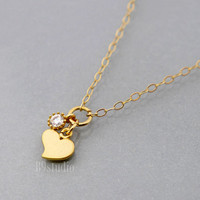 Heart necklace, small charm pendant, tiny Cubic Zirconia, gold filled chain, love, dainty delicate everyday jewelry, holidays gift, B9studio