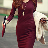 V-Neck Long Sleeve Solid Color Bodycon Knitted Dress