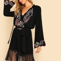 Black Embroidered Fringed Dress
