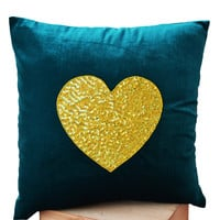 Teal Heart Pillow- Teal velvet Pillows -Velvet Pillows - Decorative cushion cover- Yelow Teal Throw pillow - gift - 16x16 - Couch pillows