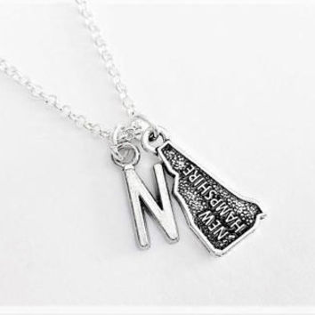 New Hampshire necklace initial necklace state jewelry New Hampshire map necklace best friend no matter where monogram necklace bff gift her