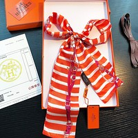 Hermes New Fashion Women Men Stripe Multi-Purpose Scarf Silk Scarves