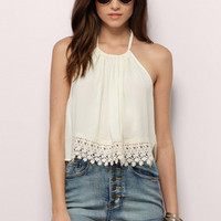 Up To Here Gauze Halter Top $20