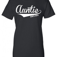 Auntie since 2014 baby maternity boy girl Aunt cool Printed T-Shirt Tee Shirt T Mens Ladies Womens Youth Kids Funny mad labs ML-210