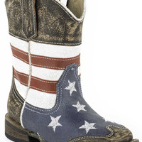 Roper Infant Western Sq Toe Leather Fashion Boots American Flag W Sanded Leather Sq.toe
