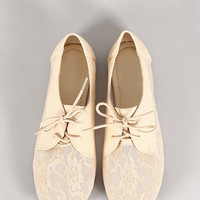 Joanna Floral Mesh Lace Up Round Toe Oxford Flat