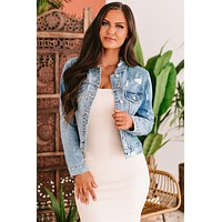 Day Dates Flying Monkey Distressed Denim Jacket (Medium)