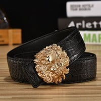 New listing leather belt men leather belts leather belt fashion casual smooth buckle Gold buckle