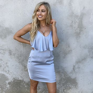 What You Love Silver Satin Dress