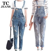 Women's Jumpsuits pants Ripped Pockets
