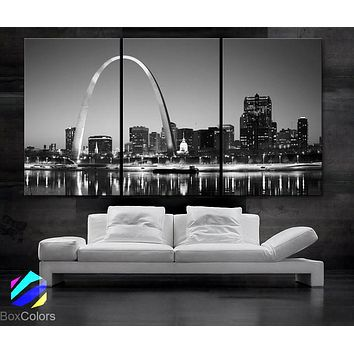 """LARGE 30""""x 60"""" 3 Panels Art Canvas Print beautiful St. louis Skyline Black & White City Missouri Wall Home (Included framed 1.5"""" depth)"""